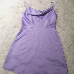 Satin lilac mini dress